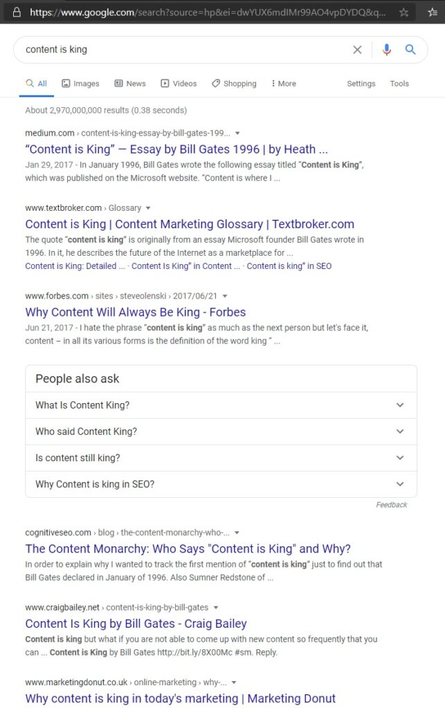 SERP of content is king